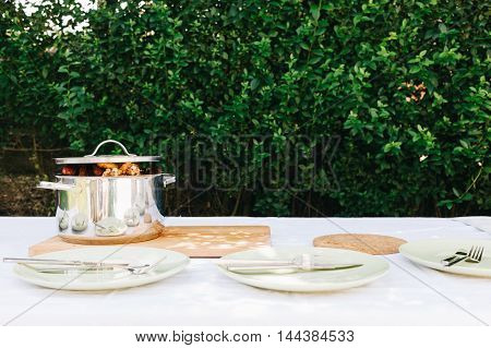 Pot with grilled meat served at the picnic table outdoors