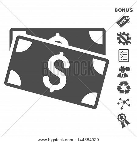 Dollar Banknotes icon with bonus pictograms. Vector illustration style is flat iconic symbols, gray color, white background, rounded angles.