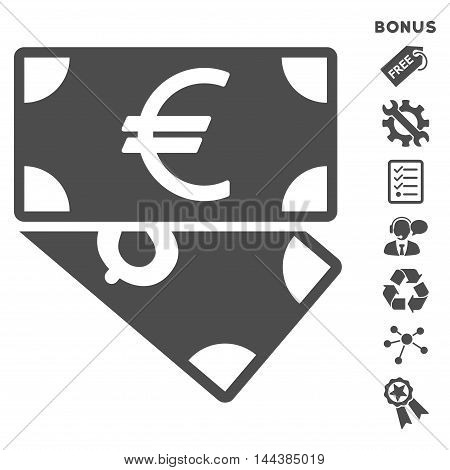 Euro and Dollar Banknotes icon with bonus pictograms. Vector illustration style is flat iconic symbols, gray color, white background, rounded angles.