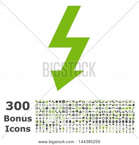 High Voltage icon with 300 bonus icons. Vector illustration style is flat iconic bicolor symbols, eco green and gray colors, white background.