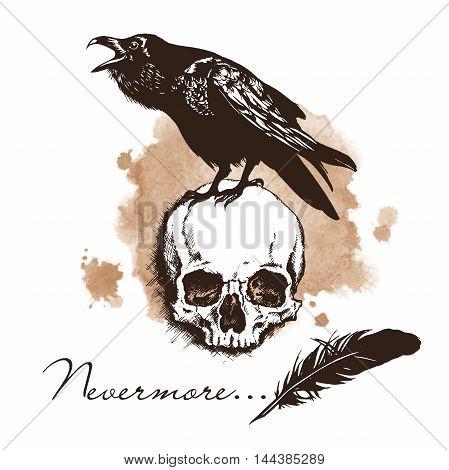 PrintRaven and skull on sepia background halloween vector illustration