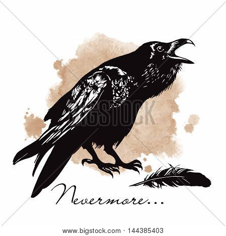 Raven on sepia background halloween vector illustration