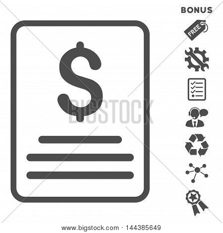 Invoice icon with bonus pictograms. Vector illustration style is flat iconic symbols, gray color, white background, rounded angles.