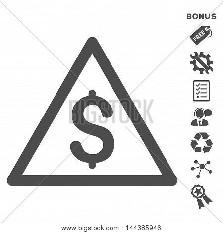 Money Warning icon with bonus pictograms. Vector illustration style is flat iconic symbols, gray color, white background, rounded angles.