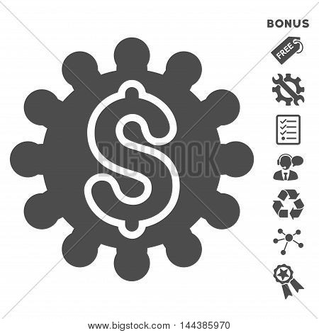 Payment Configuration icon with bonus pictograms. Vector illustration style is flat iconic symbols, gray color, white background, rounded angles.