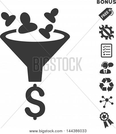 Sales Funnel icon with bonus pictograms. Vector illustration style is flat iconic symbols, gray color, white background, rounded angles.