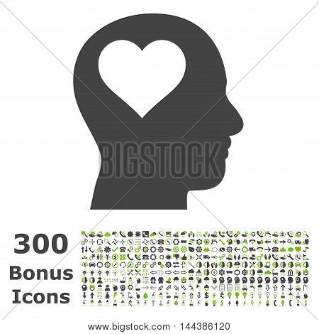 Lover Head icon with 300 bonus icons. Vector illustration style is flat iconic bicolor symbols, eco green and gray colors, white background.
