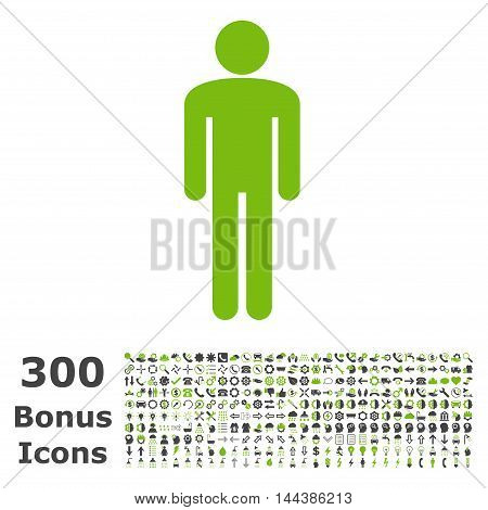 Man icon with 300 bonus icons. Vector illustration style is flat iconic bicolor symbols, eco green and gray colors, white background.