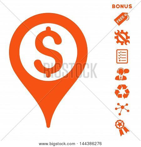 Bank Map Pointer icon with bonus pictograms. Vector illustration style is flat iconic symbols, orange color, white background, rounded angles.