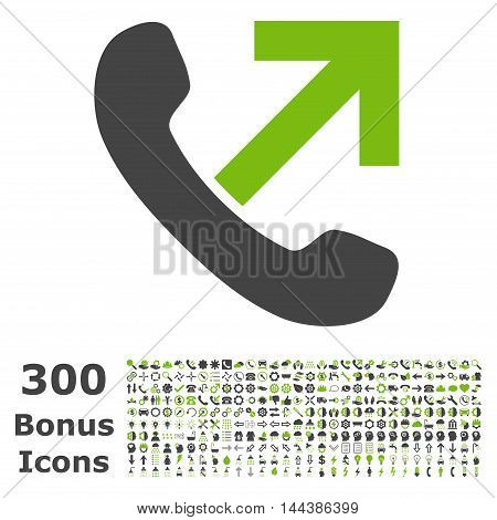 Outgoing Call icon with 300 bonus icons. Vector illustration style is flat iconic bicolor symbols, eco green and gray colors, white background.