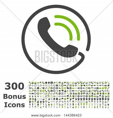 Phone Call icon with 300 bonus icons. Vector illustration style is flat iconic bicolor symbols, eco green and gray colors, white background.