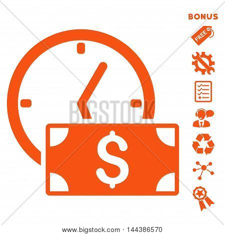Credit icon with bonus pictograms. Vector illustration style is flat iconic symbols, orange color, white background, rounded angles.