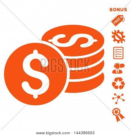Dollar Coin Stack icon with bonus pictograms. Vector illustration style is flat iconic symbols, orange color, white background, rounded angles.
