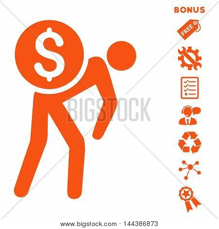 Financial Courier icon with bonus pictograms. Vector illustration style is flat iconic symbols, orange color, white background, rounded angles.