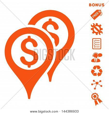 Financial Map Pointers icon with bonus pictograms. Vector illustration style is flat iconic symbols, orange color, white background, rounded angles.