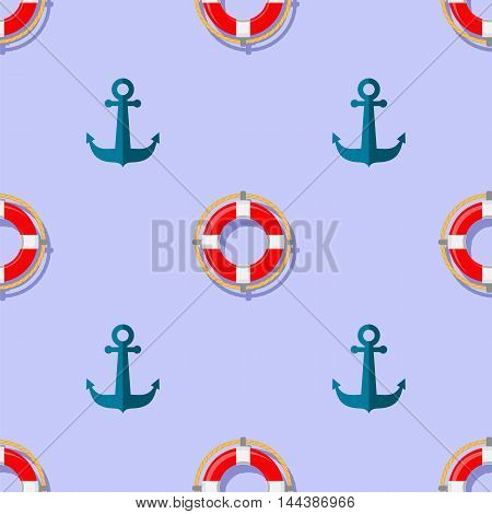 Lifebuoy and Anchor Icons Nautical Pattern on Blue. Lifequard Symmetric Background