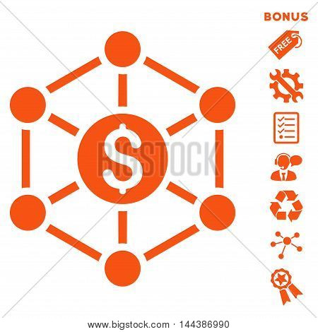 Financial Radial Scheme icon with bonus pictograms. Vector illustration style is flat iconic symbols, orange color, white background, rounded angles.