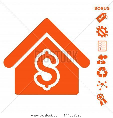 House Rent icon with bonus pictograms. Vector illustration style is flat iconic symbols, orange color, white background, rounded angles.