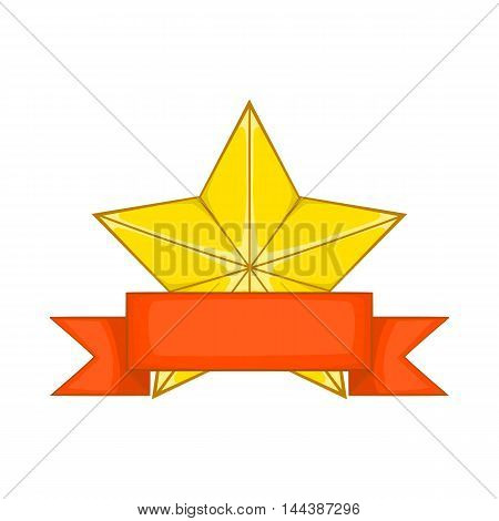 Gold star award with red ribbon icon in cartoon style isolated on white background