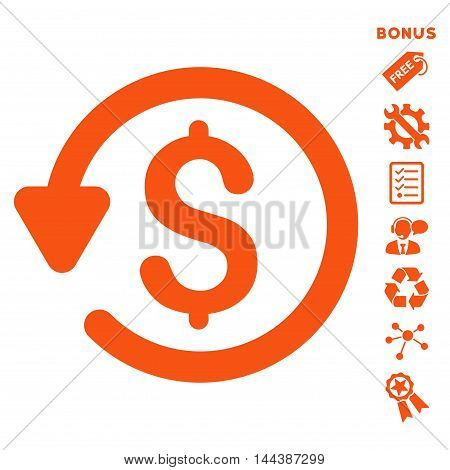 Refund icon with bonus pictograms. Vector illustration style is flat iconic symbols, orange color, white background, rounded angles.