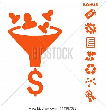 Sales Funnel icon with bonus pictograms. Vector illustration style is flat iconic symbols, orange color, white background, rounded angles.