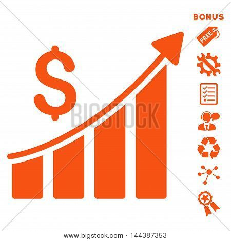 Sales Growth Bar Chart icon with bonus pictograms. Vector illustration style is flat iconic symbols, orange color, white background, rounded angles.