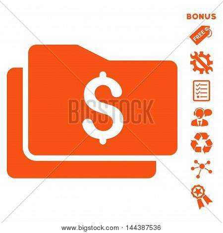 Wallet icon with bonus pictograms. Vector illustration style is flat iconic symbols, orange color, white background, rounded angles.