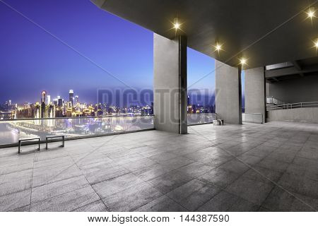 cityscape and skyline of chongqing from brick floor