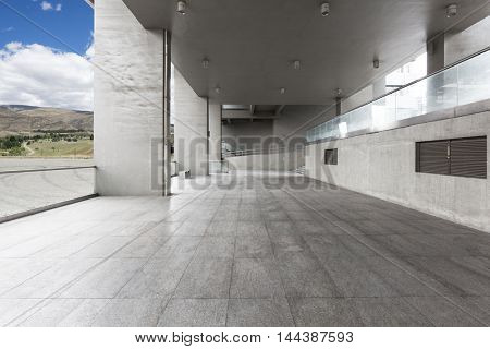 landscape of hill from empty brick floor