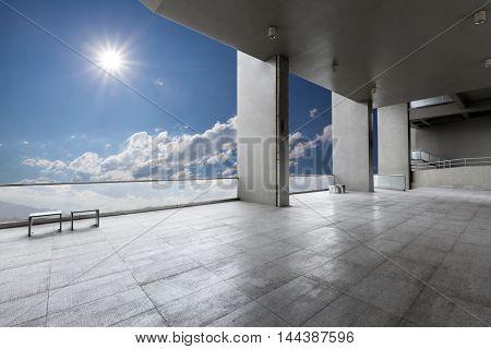 sun from empty brick floor