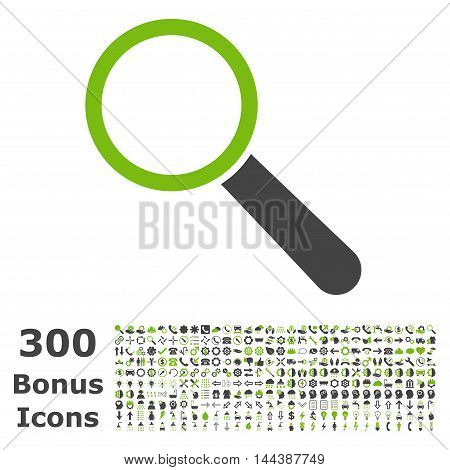 Search Tool icon with 300 bonus icons. Vector illustration style is flat iconic bicolor symbols, eco green and gray colors, white background.