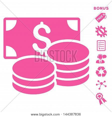Cash icon with bonus pictograms. Vector illustration style is flat iconic symbols, pink color, white background, rounded angles.