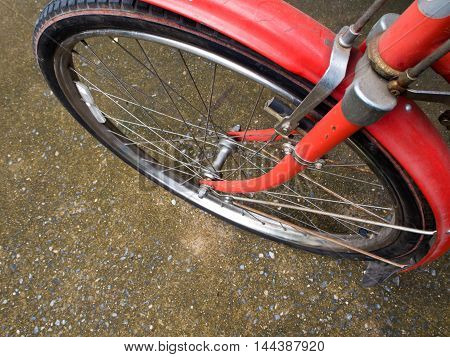 wheel and Classic brake system on vintage Bicycle