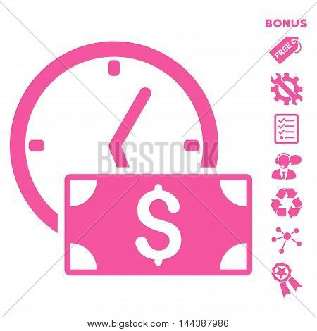 Credit icon with bonus pictograms. Vector illustration style is flat iconic symbols, pink color, white background, rounded angles.