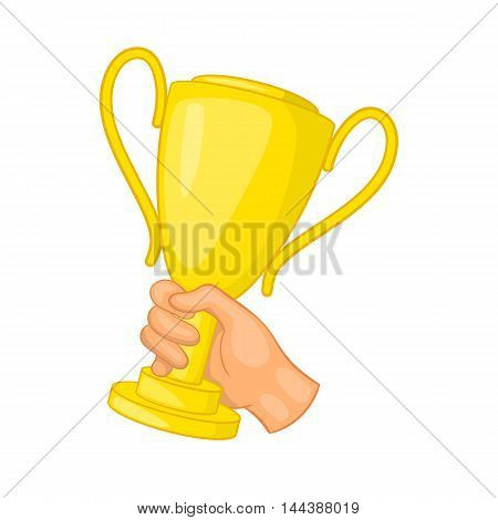 Hand holding gold trophy cup icon in cartoon style isolated on white background