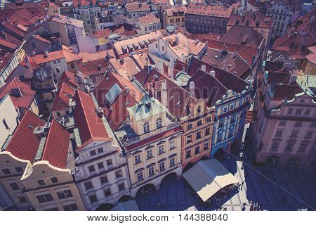 view of the roof from the height in Prague