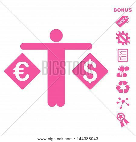 Currency Trader icon with bonus pictograms. Vector illustration style is flat iconic symbols, pink color, white background, rounded angles.