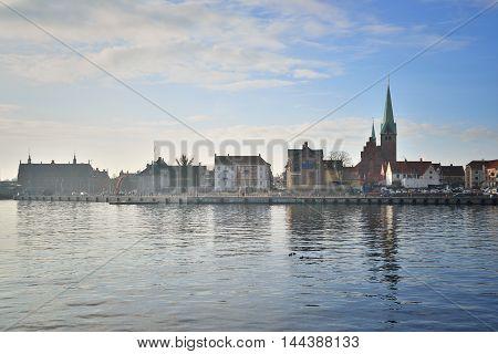 view of the city Helsingor in Denmark