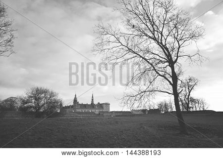 ancient castle on the beach in Helsingor