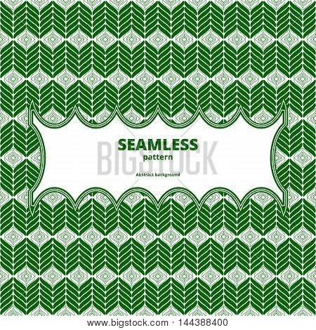 Seamless herringbone green. Graphic linear wallpaper. Contrast illustration. Abstract diagonal print. Vector illustration.