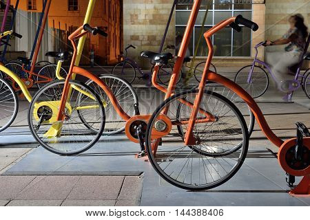 JERUSALEM, ISRAEL - JUNE 2, 2015: Colorful bikes exposition in the City
