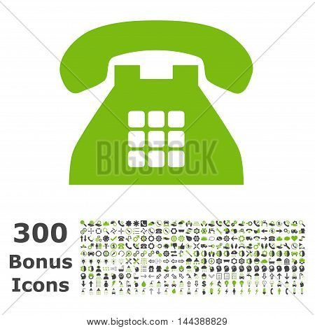 Tone Phone icon with 300 bonus icons. Vector illustration style is flat iconic bicolor symbols, eco green and gray colors, white background.