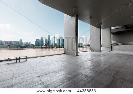 cityscape and skyline of hangzhou from brick floor