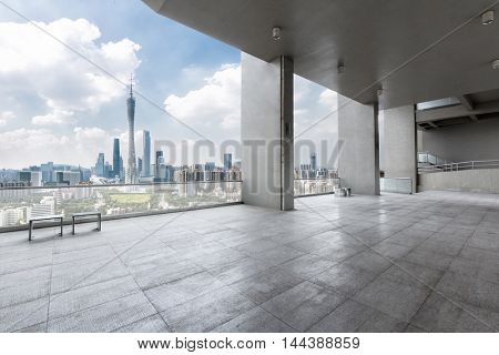 cityscape and skyline of guangzhou from brick floor