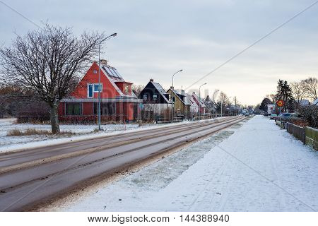 asphalt road in a small town in Sweden