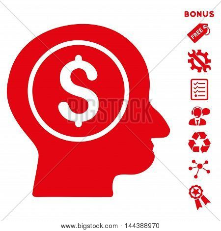 Banker icon with bonus pictograms. Vector illustration style is flat iconic symbols, red color, white background, rounded angles.