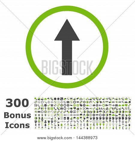 Up Rounded Arrow icon with 300 bonus icons. Vector illustration style is flat iconic bicolor symbols, eco green and gray colors, white background.