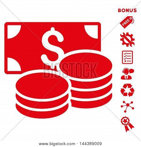 Cash icon with bonus pictograms. Vector illustration style is flat iconic symbols, red color, white background, rounded angles.