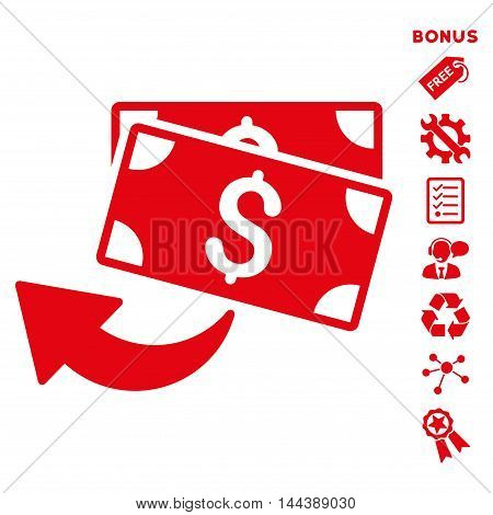 Cashback icon with bonus pictograms. Vector illustration style is flat iconic symbols, red color, white background, rounded angles.