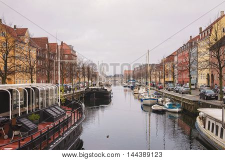 COPENHAGEN, DENMARK - 30 DECEMBER, 2014: One of the many canals in the city center